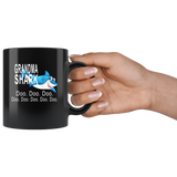 Grandma shark doo doo doo, mother's day black gift coffee mugs