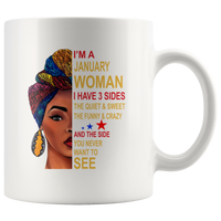 January woman three sides quiet, sweet, funny, crazy, birthday black gift coffee mugs