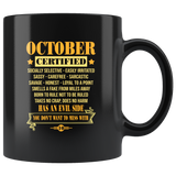 October Certified Has An Evil Side You Do Not Want To Mess Birthday Black Coffee Mug