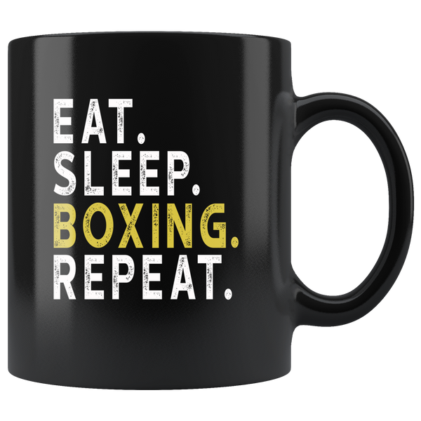 Eat sleep boxing repeat black gift coffee mug