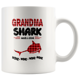 Grandma shark needs a drink wine mother's day gift white coffee mug