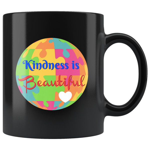Kindness Is Beautiful Autism Awareness Funny Gift For Kid Men Women Black Coffee Mug