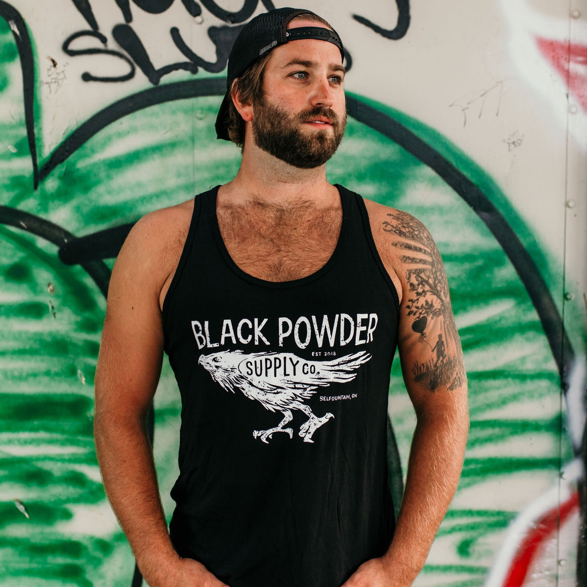 Running Raven Men's Black Tank Top
