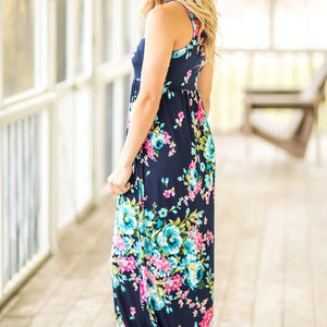 Women's Navy Floral Maxi Dress