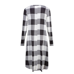 Women Plaid Casual Long Sleeve Evening Party Mini Dress With Pockets