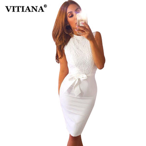 VITIANA Women Lace Midi Party Dress