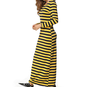 Women Clubwear Party Long Sleeve Striped Casual Ankle-Length Sheath Dress