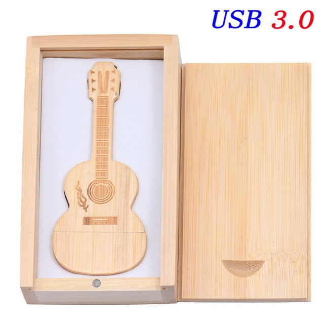 USB 3.0 Natural Wooden Guitar USB Flash Drive+ Box