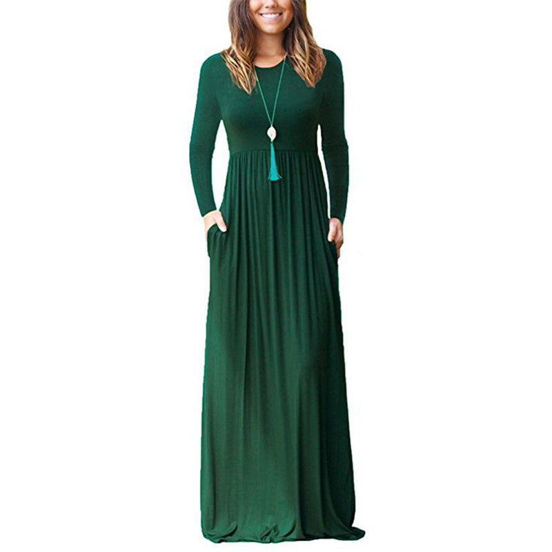 Femme Plus Size Pockets Long Maxi Dress Solid Long Sleeve