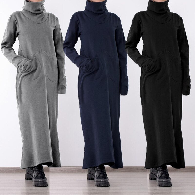 Women Turtleneck Vintage Dress Maxi Vestidos Robe Dresses