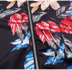 Retro Floral Printed Zipper Bomber Jackets For Women