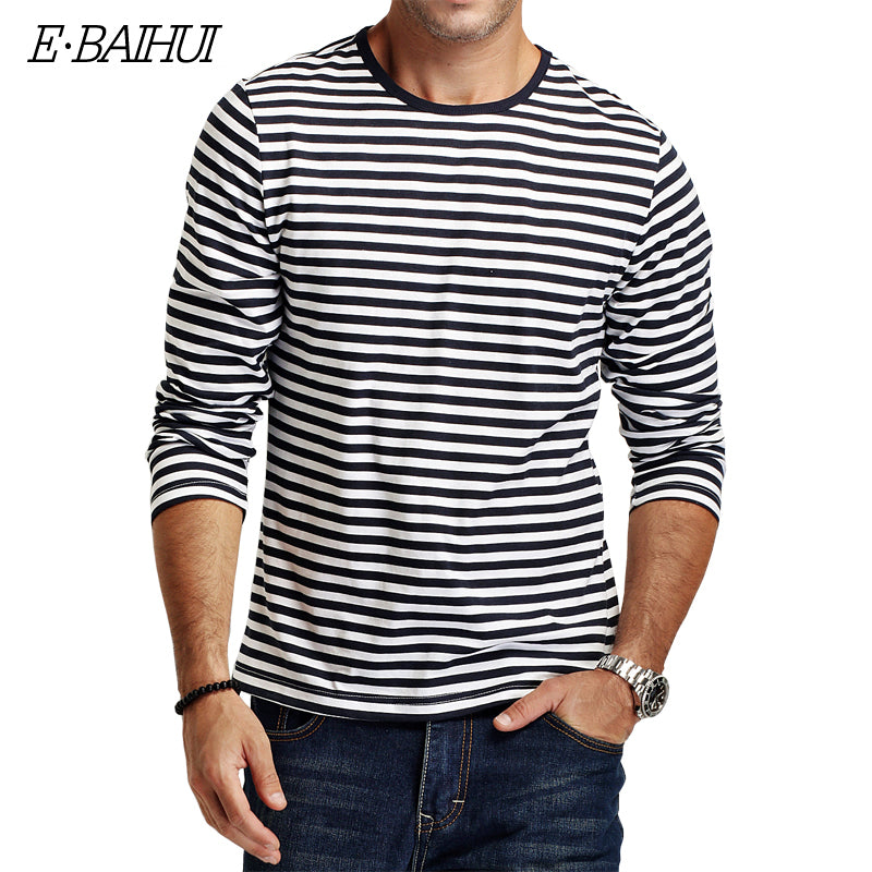 Casual Stripped T Shirt Long Sleeve Men's Slim Fit