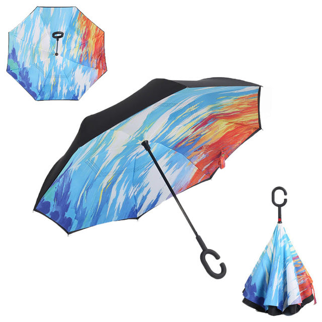 Windproof Reverse Folding Double Layer Inverted Umbrella Self Stand
