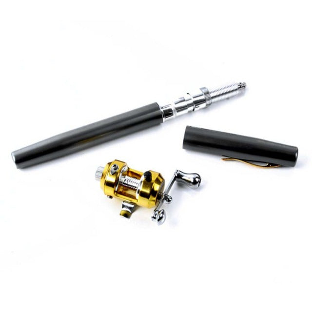 Portable Pocket Telescopic Mini Fishing Pole Pen Shape Folded Fishing Rod With Reel Wheel