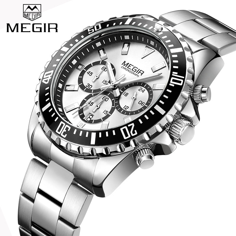 New MEGIR Watches Mens Top Luxury Brand Steel Strap Quartz Wristwatch Men Military Army Sport Clock Chronograph Male Watch 2064
