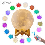 3D Moon Lamp Printed Night Light Remote Control/Touch LED Lunar Moonlight Globe Ball with Wood Stand Base