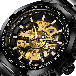 Gold Skeleton - Transparent  Mechanical Men Wrist Watches Automatic Black Stainless Steel