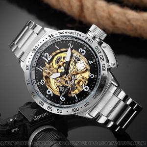 MG.ORKINA MG Top Brand Men Watches Fashion Skeleton Watch Automatic Mechanical Stainless Steel Watches