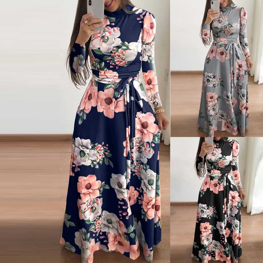 Womens  Boho Maxi Dress Ladies Holiday Long Sleeve Dress