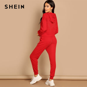 SHEIN Red Pocket Patched Solid Hoodie Drawstring Waist Pants Plain Two-Piece Set
