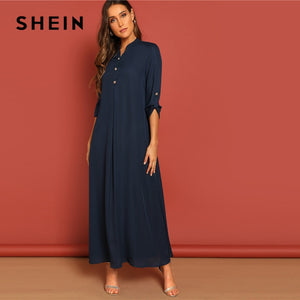 SHEIN Rolled Tab Sleeve Round Neck Button Front Women Arabian Dresses