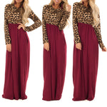 Women's Long Sleeve Maxi Dress Leopard Print Contrast Patchwork Dresses