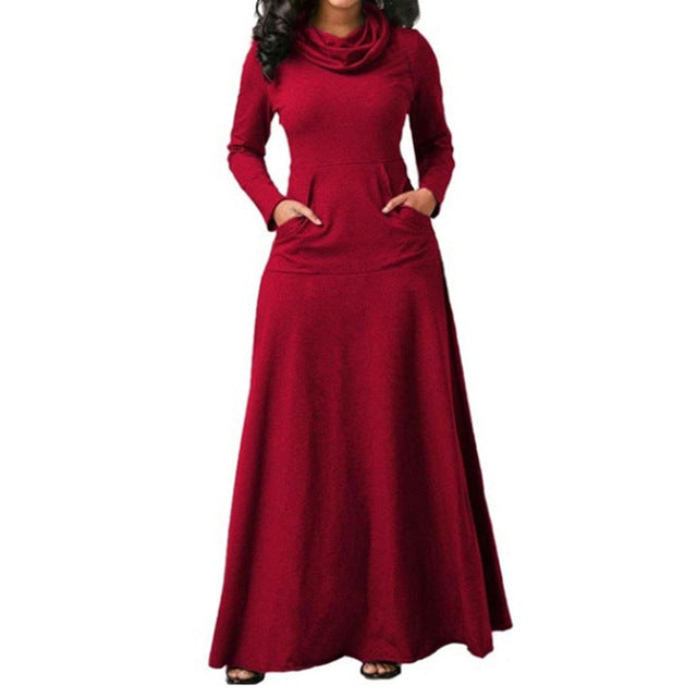 Women Long Sleeve Maxi Dress With Pocket