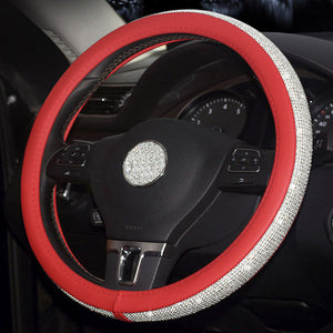 Rhinestone Crystal Leather Steering Wheel Cover