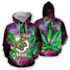 HOODIE HIPPIE 420 DON'T CARE BEAR 3D ALL OVER PRINT  H005DSNUH