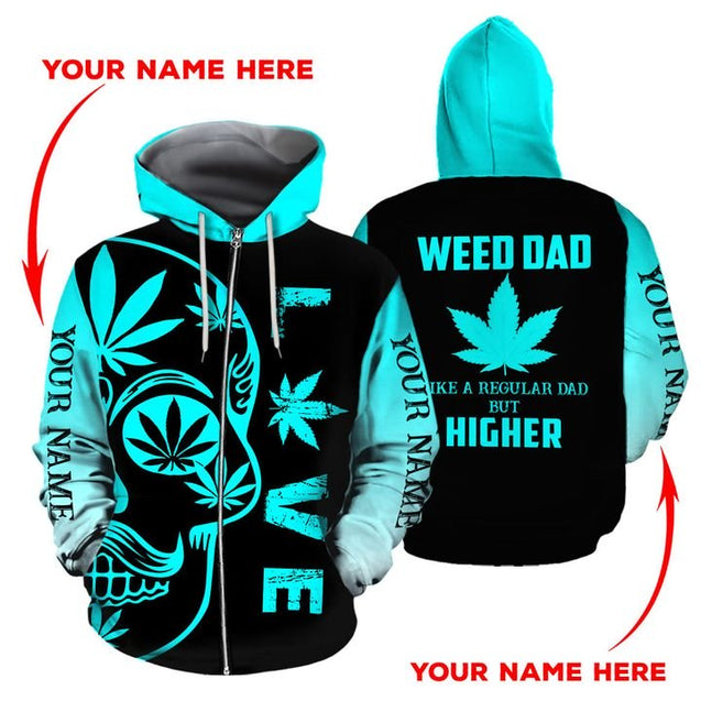 HOODIE WEED DAD 3D ALL OVER PRINT  H005T8 CUSTOM NAME