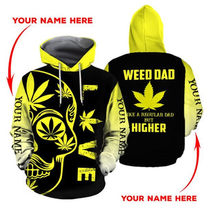 HOODIE WEED DAD 3D ALL OVER PRINT  H005T9 CUSTOM NAME