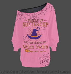 New Colors Halloween You Just Flipped My Witch Switch Off Shoulder Long Sleeves Top