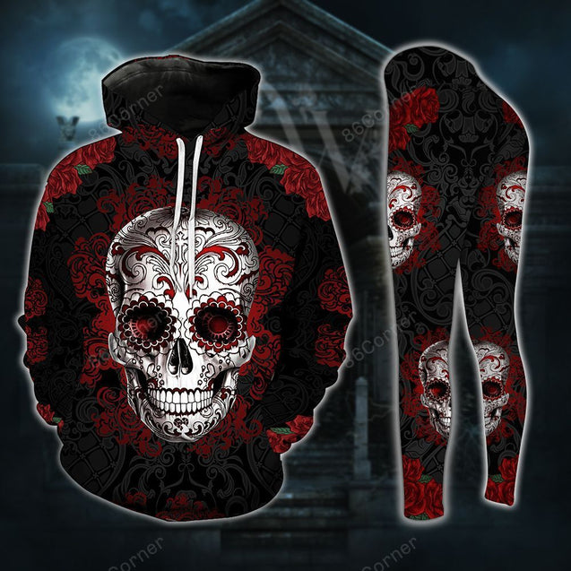 Sugar Skull Red Roses Legging And Hoodie Set PTX200923A