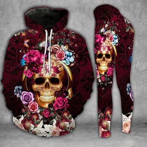 Floral Skull Legging And Hoodie Set PTX200923C
