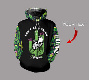 CACTUS SKULL HOODIE 3D ALL OVER PRINT HD006JSTTD CUSTOM NAME