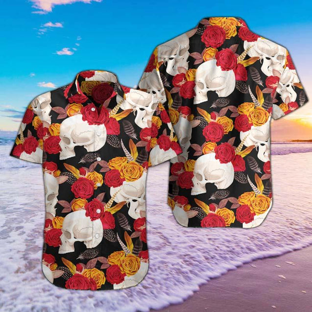 SKULL AND FLOWERS HAWAII SHIRTS SO0E83IEH