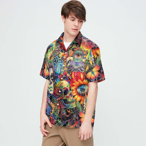 SKULL COLORFUL HAWAII SHIRTS S06HOIEH