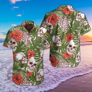 SKULL TROPICAL PATTERN HAWAII SHIRTS S06HPIEH
