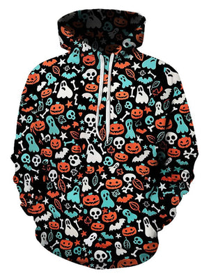 HALLOWEEN DITSY PATTERN FRONT POCKET DRAWSTRING HOODIE H007AZSON