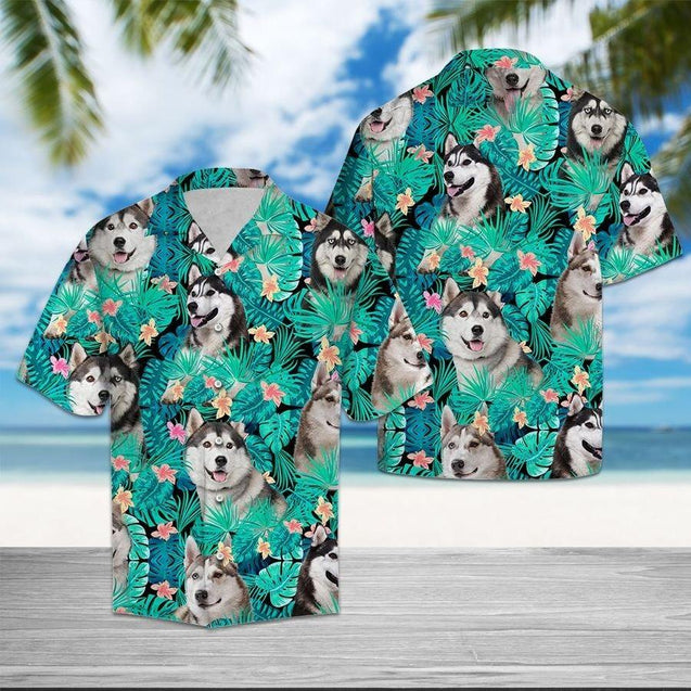 SIBERIAN HUSKY TROPICAL HAWAII SHIRTS S006N8TTD