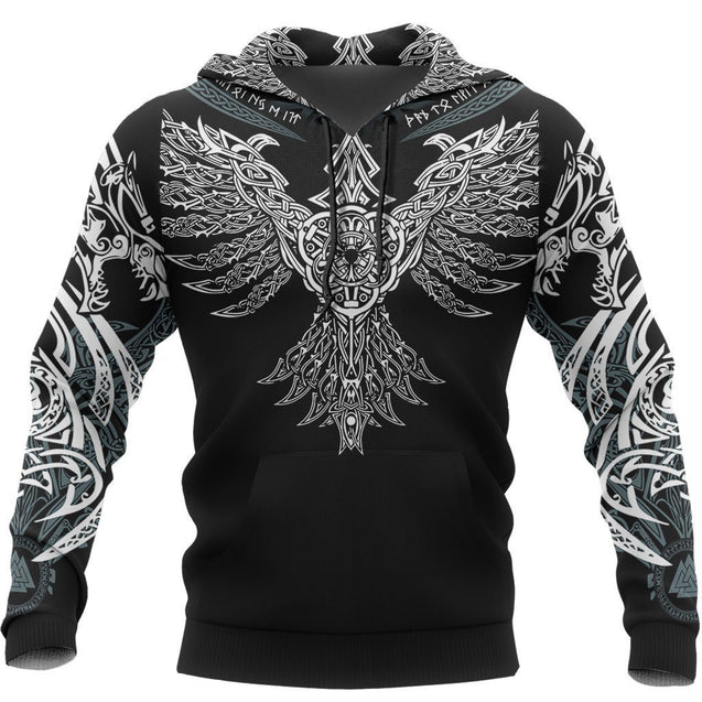 Viking Huginn Pullover Hoodie - Special Version White
