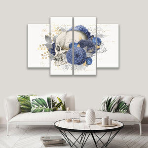 4 PANEL SKULL FLOWERS ON CANVAS WALL CP003XN
