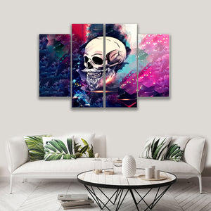 4 PANEL PAINTING SKULL ON CANVAS WALL CP003XP