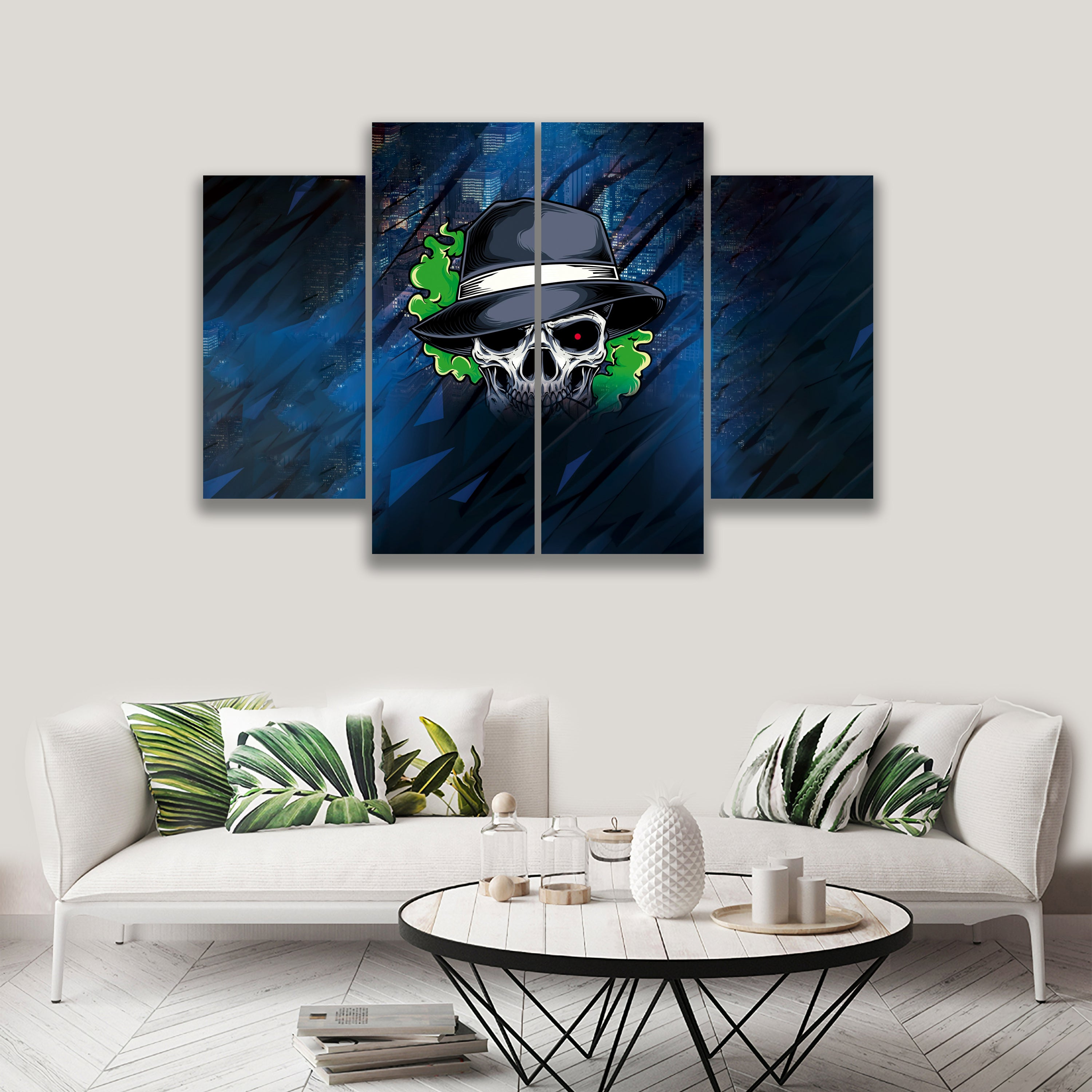 4 PANEL PAINTING SKULL ON CANVAS WALL CP003XQ