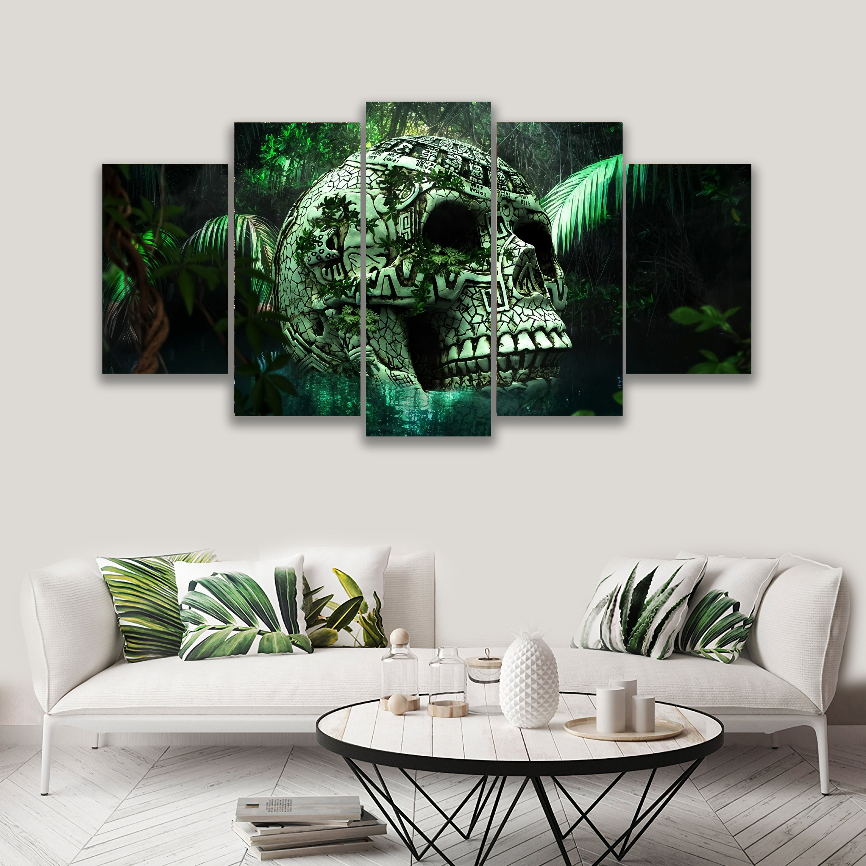 5 PANEL SKULL IN JUNGLE ON CANVAS WALL CP003XX