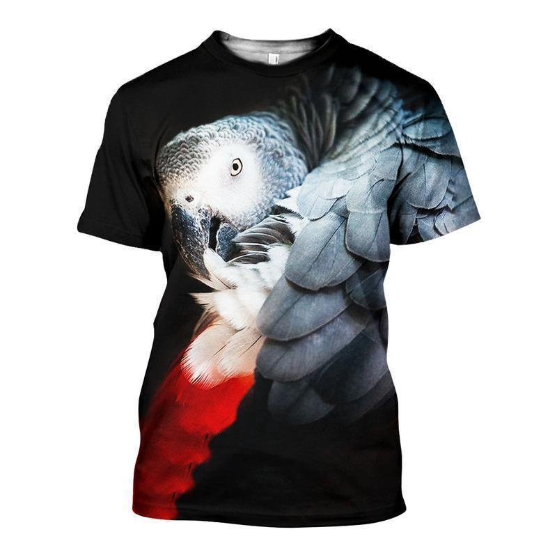 3D ALL OVER PRINTED AFRICAN GREY PARROT SHIRTS AND SHORTS DT191106