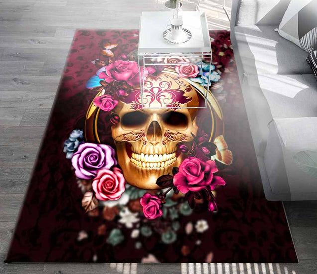 SKULL ROSE Living Room Sofa Square Rug FR003Z6