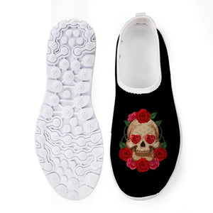 Cool Punk Skull Black Flats Shoes Casual Mesh Comfort Slip On Sneakers CC6249AA