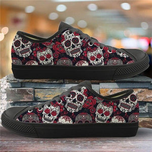 Sugar Skull Pattern Women's Summer Casual Canvas Shoes Ladies HMF309Z37