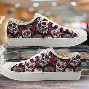 Sugar Skull Pattern Women's Summer Casual Canvas Shoes Ladies HMF309Z39